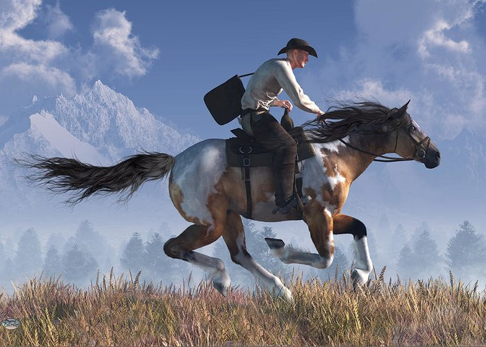 Pony Express Greeting Card featuring the digital art Pony Express Rider by Daniel Eskridge
