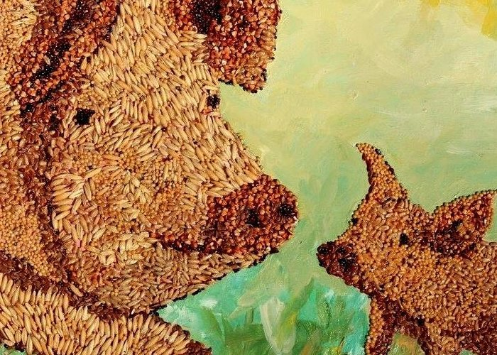 Agricultural Greeting Card featuring the mixed media Feeding Our Hogs by Naomi Gerrard