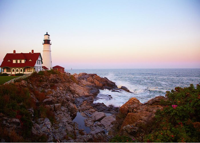 Scenics Greeting Card featuring the photograph Portland Head Lighthouse At Sunset by Thomas Northcut