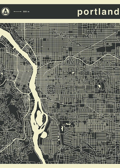 Portland Map Greeting Card featuring the digital art Portland Map 3 by Jazzberry Blue