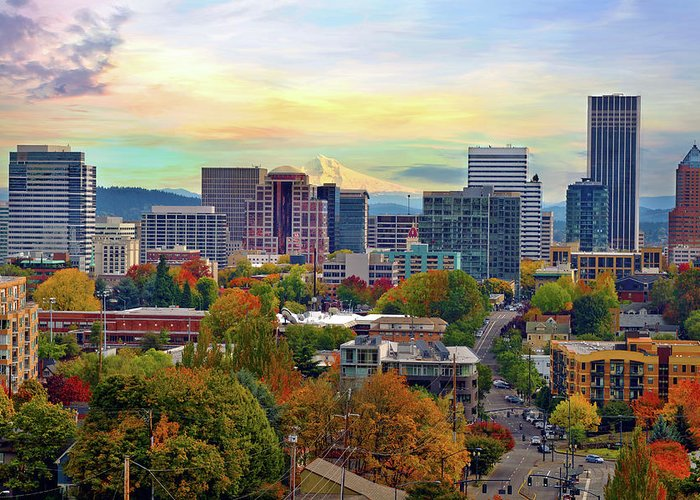 Viewpoint Greeting Card featuring the photograph Portland Oregon Downtown Cityscape In by David Gn Photography