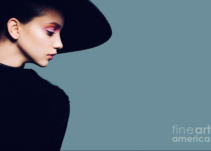Studio Greeting Card featuring the photograph Portrait Of Beautiful Girl In Hat In by Yuliya Yafimik