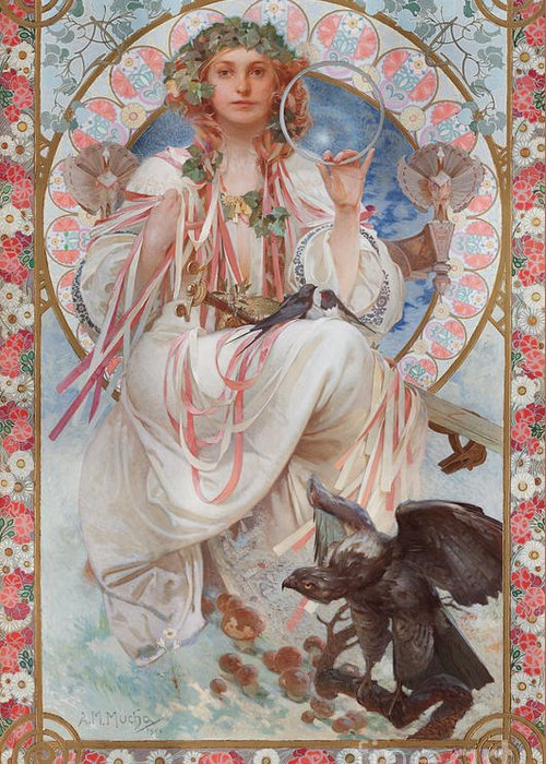 Mucha Greeting Card featuring the painting Portrait Of Josephine Crane Bradley As Slavia by Alphonse Marie Mucha