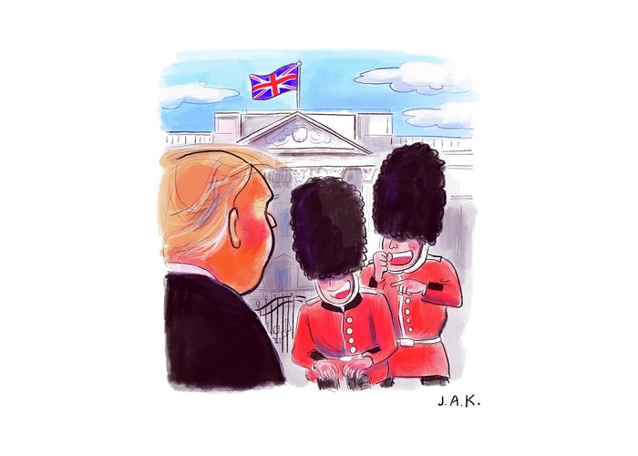 Captionless Greeting Card featuring the painting Presidential Visit To The Uk by Jason Adam Katzenstein