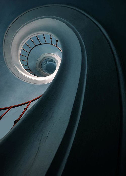 Stairway Greeting Card featuring the photograph Pretty Blue Spiral Staircase by Jaroslaw Blaminsky