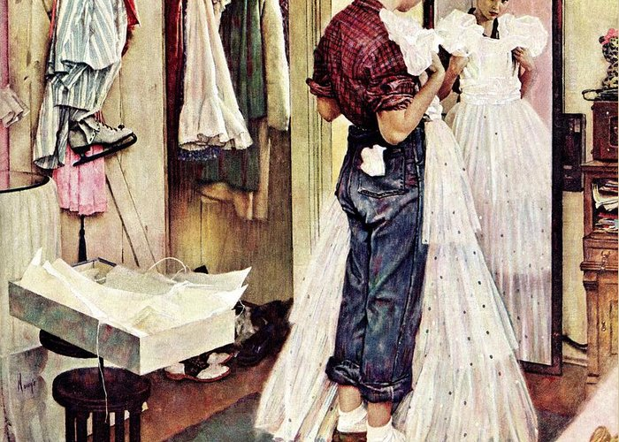Dresses Greeting Card featuring the drawing Prom Dress by Norman Rockwell