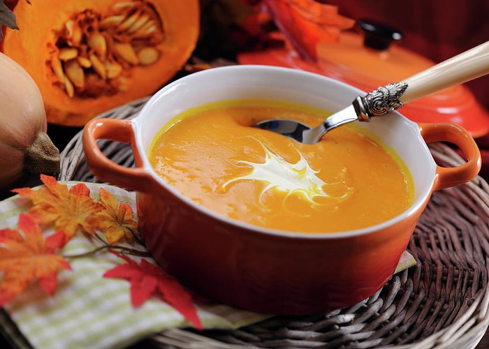 Event Greeting Card featuring the photograph Pumpkin Soup In Skew With Creme Fraiche by Moncherie