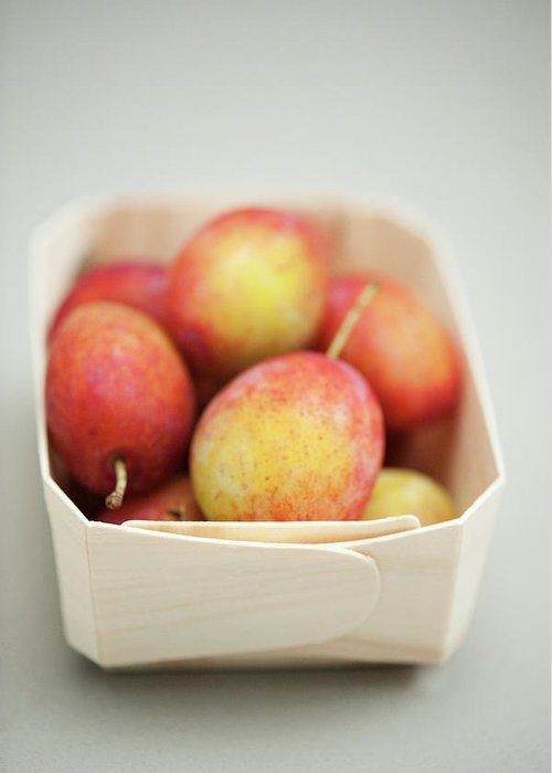 Plum Greeting Card featuring the photograph Punnet Of Victoria Plums by Diana Miller