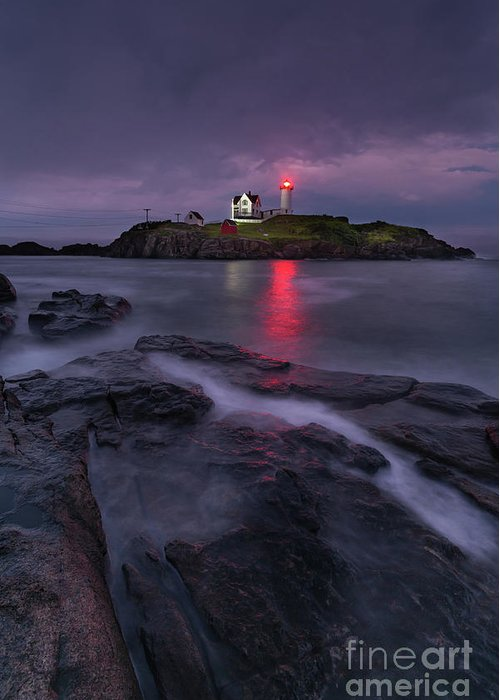 Nubble Lighthouse Greeting Card featuring the photograph Purple Haze At Nubble Lighthouse by Jesse MacDonald