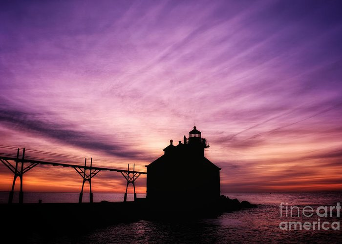 Door County Greeting Card featuring the photograph Purple Sunrise in Door County by Ever-Curious Photography