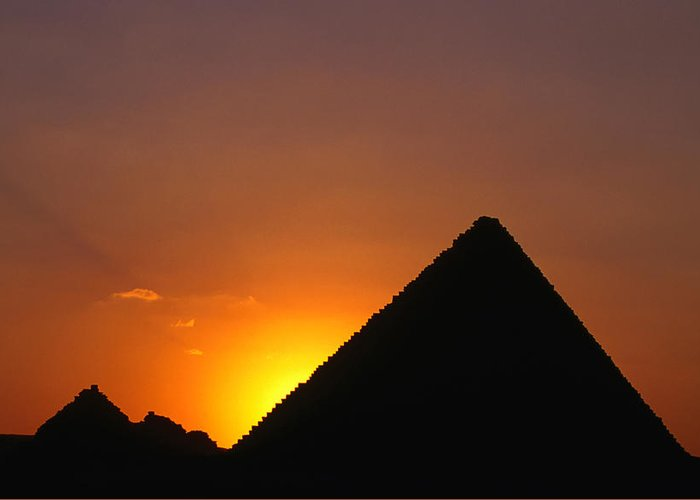 Orange Color Greeting Card featuring the photograph Pyramid Of Mycerinus At Giza At Sunset by Anders Blomqvist