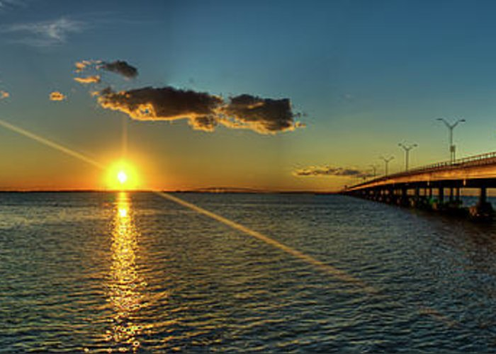 Panoramic Greeting Card featuring the photograph Queen Isabella Causeway by Joshua Bozarth