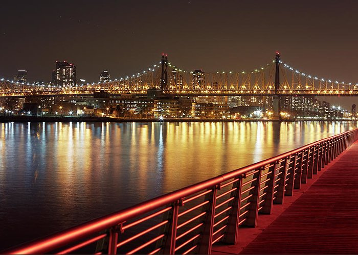 Built Structure Greeting Card featuring the photograph Queensboro Bridge At Night by Allan Baxter