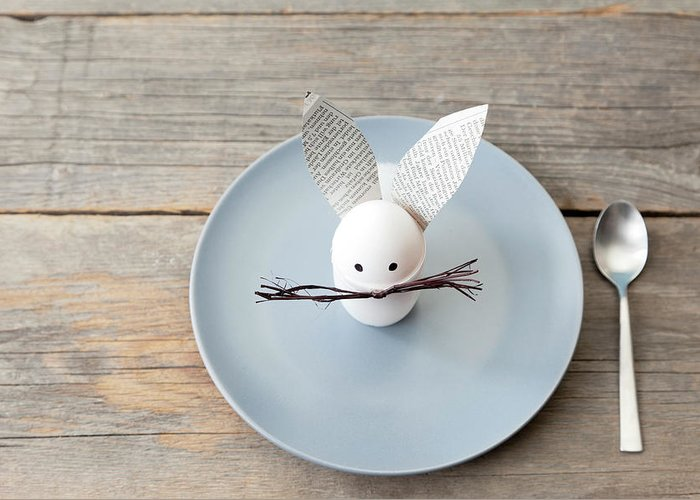 Holiday Greeting Card featuring the photograph Rabbit Decoration On Plate by Stefanie Grewel