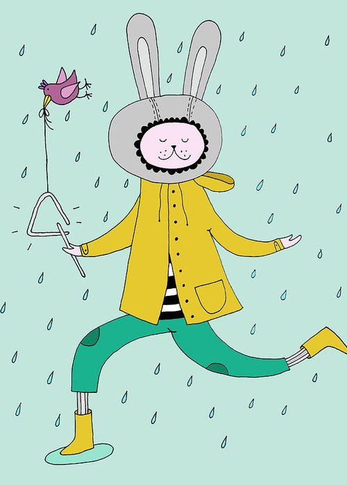 Animal Themes Greeting Card featuring the digital art Rabbit In Rain by Kristina Timmer