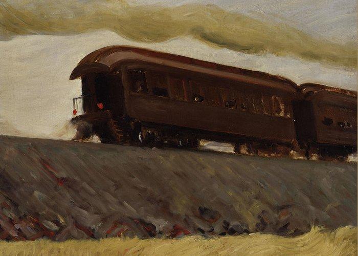 Edward Hopper Greeting Card featuring the painting Railroad Train by Edward Hopper