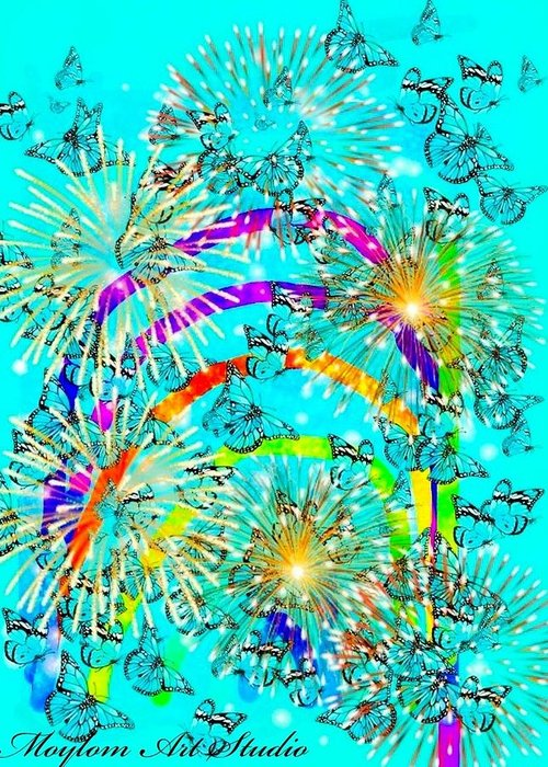 Rainbows Greeting Card featuring the digital art Rainbow Fireworks 24 by Moylom Art Studio