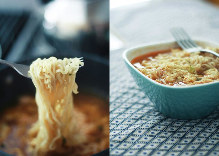 Kitchen Greeting Card featuring the photograph Ramen Noodles Diptych by Alice Gao Photography
