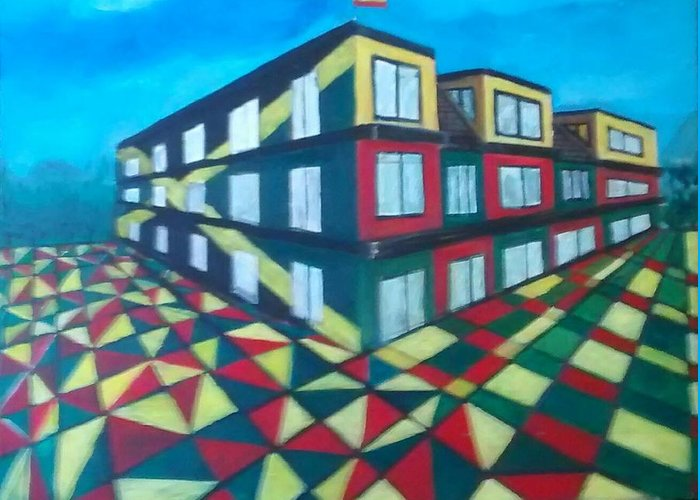 Rasta Art Greeting Card featuring the painting Rasta Academy by Andrew Johnson
