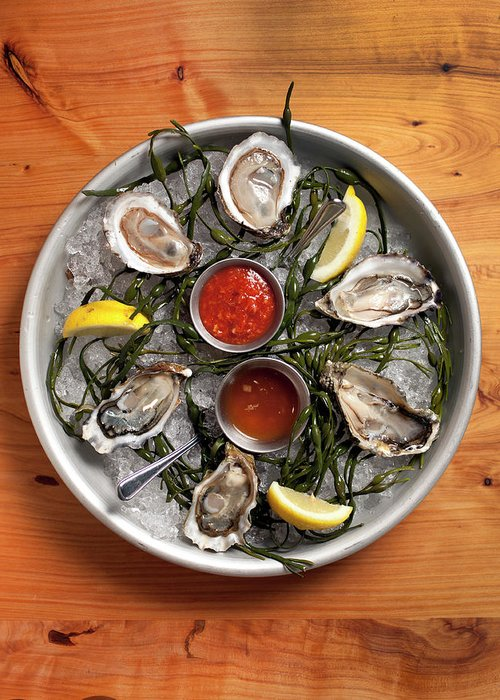 Oyster Greeting Card featuring the photograph Raw Oyster Platter by Lara Hata