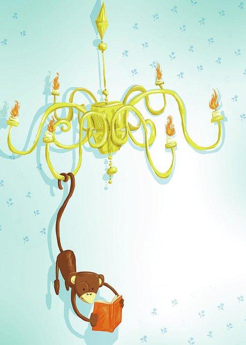 Hanging Greeting Card featuring the digital art Reading Monkey by Gabrieletafuni-illustrator