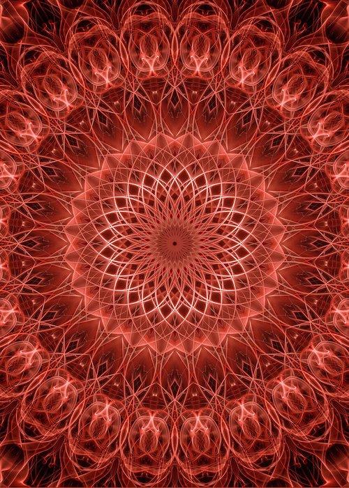 Mandala Greeting Card featuring the digital art Red Detailed Mandala by Jaroslaw Blaminsky