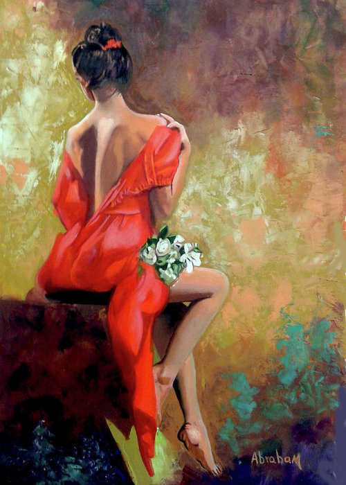 Women Greeting Card featuring the painting Red Lady 2 by Jose Manuel Abraham