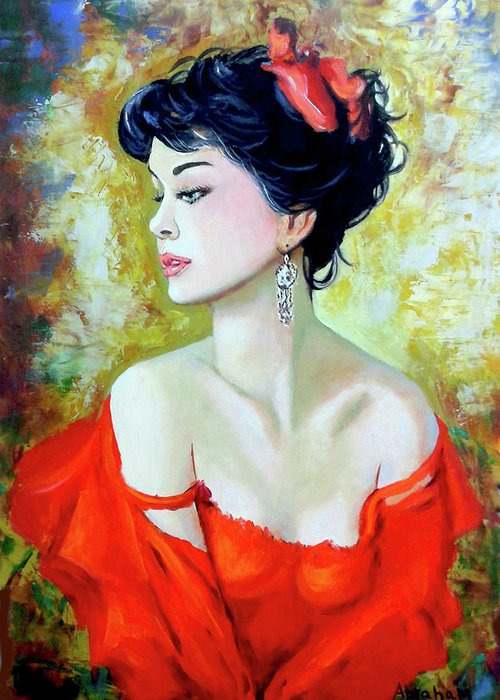 Lady Greeting Card featuring the painting Red Lady by Jose Manuel Abraham