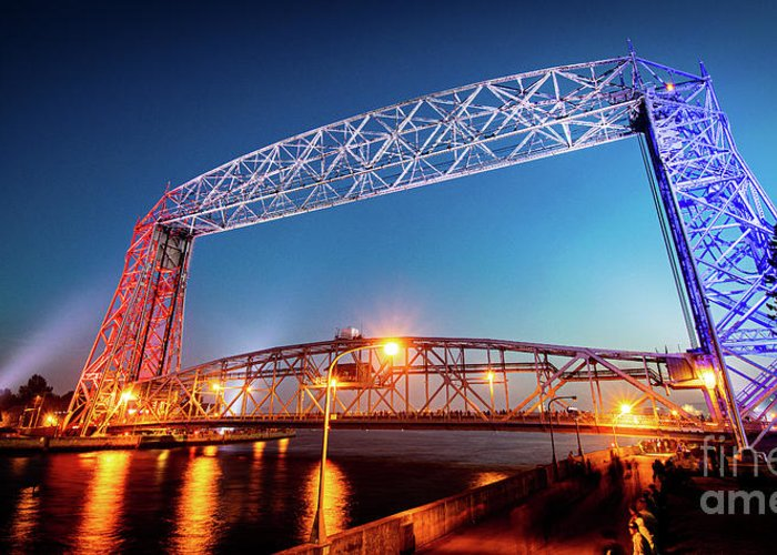 Duluth Greeting Card featuring the photograph Red White And Bridge by Ever-Curious Geek