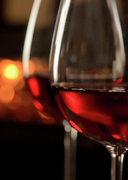 Orange Color Greeting Card featuring the photograph Red Wine By The Fire by Nightanddayimages
