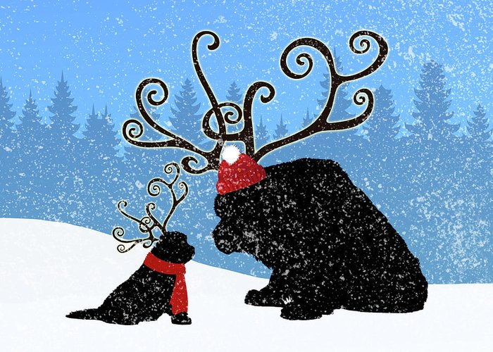 Christine Mullis Greeting Card featuring the digital art Reindeer Newfs Holiday Card by Christine Mullis