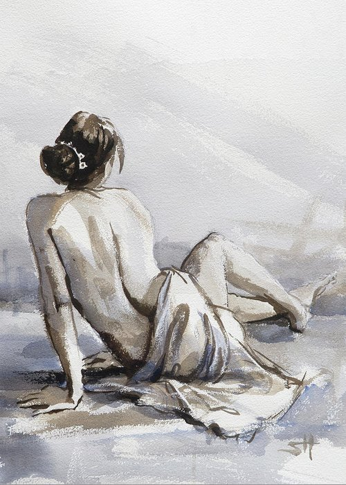Woman Greeting Card featuring the painting Relaxed by Steve Henderson