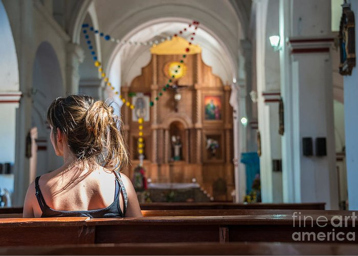 Religious Greeting Card featuring the photograph Religious Scene Young Female Praying At by Dc aperture
