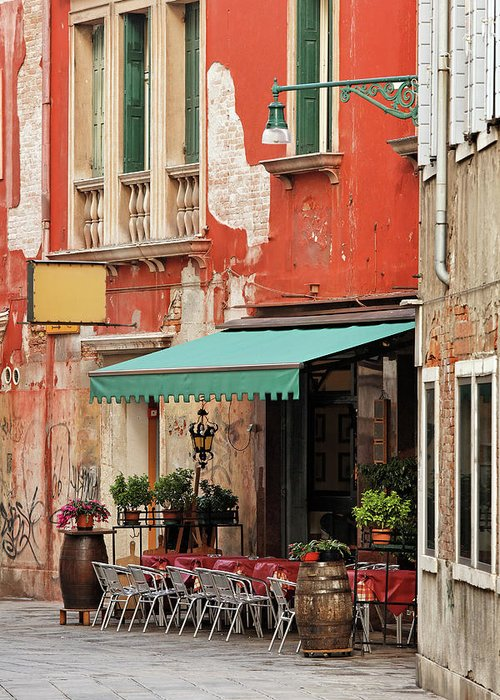 Empty Greeting Card featuring the photograph Restaurant In Venice by Mammuth