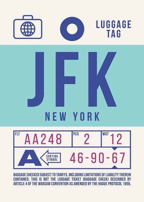 Airline Greeting Card featuring the digital art Retro Airline Luggage Tag 2.0 - Jfk New York United States by Organic Synthesis