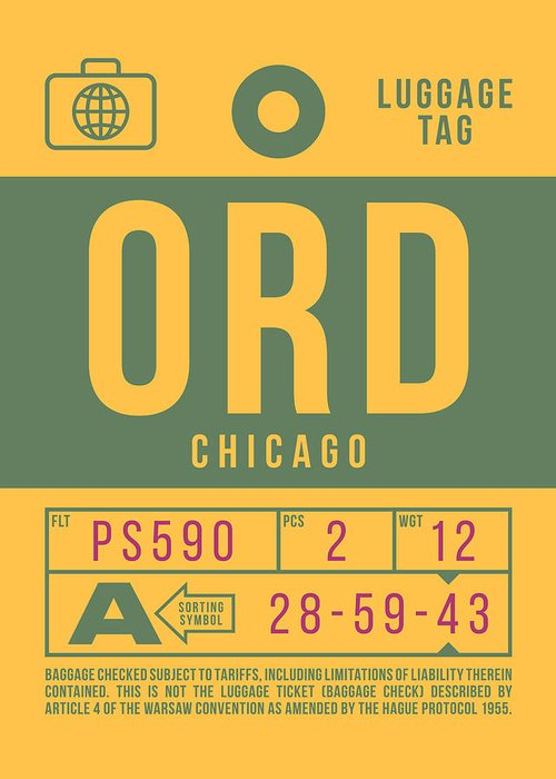Airline Greeting Card featuring the digital art Retro Airline Luggage Tag 2.0 - Ord Chicago O'hare Airport United States by Organic Synthesis