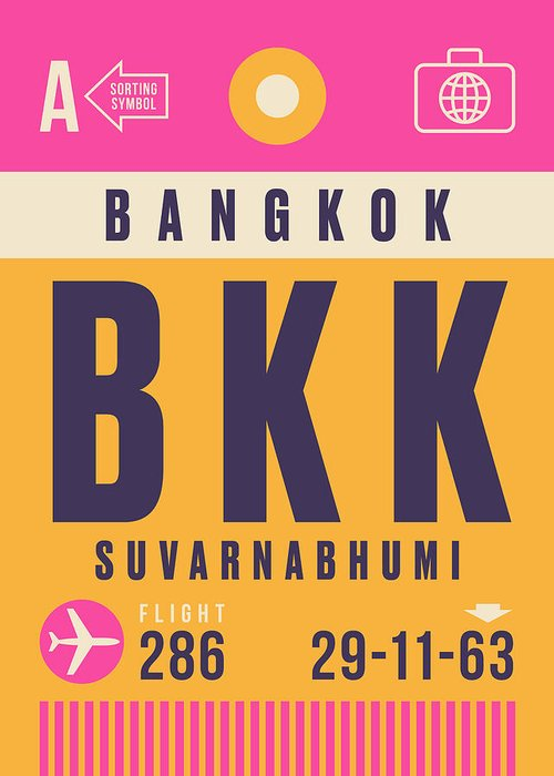 Airline Greeting Card featuring the digital art Retro Airline Luggage Tag - Bkk Bangkok Thailand by Organic Synthesis