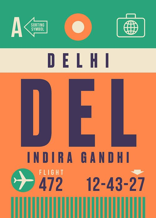 Airline Greeting Card featuring the digital art Retro Airline Luggage Tag - Del Delhi Airport by Organic Synthesis