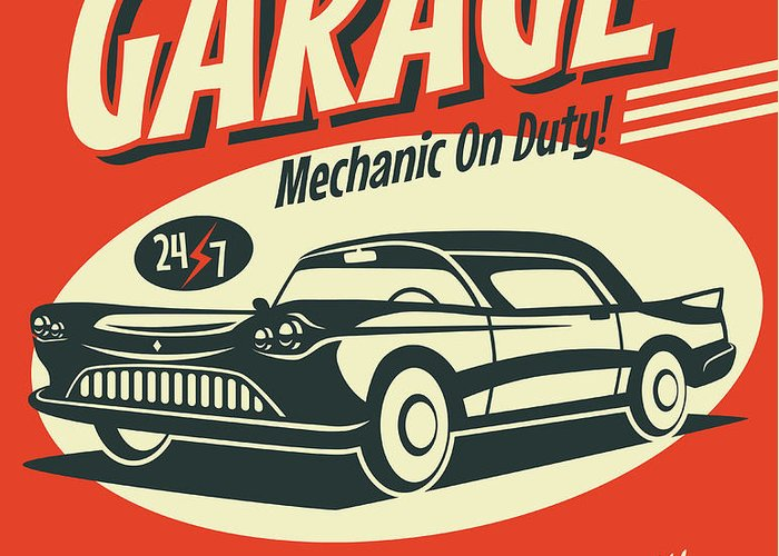Template Greeting Card featuring the digital art Retro Car Service Sign. Vector by Laralova