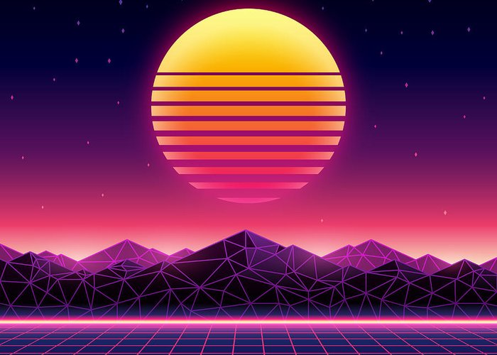 Space Greeting Card featuring the digital art Retro Futuristic Background 1980s by Kelvin Degree