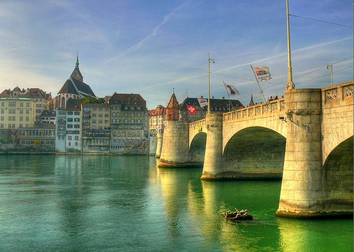 Outdoors Greeting Card featuring the photograph Rhine Bridge In Basel by Richard Fairless