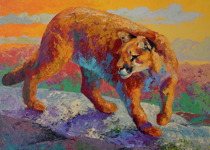 Ridge Cougar Greeting Card featuring the painting Ridge Cougar by Marion Rose