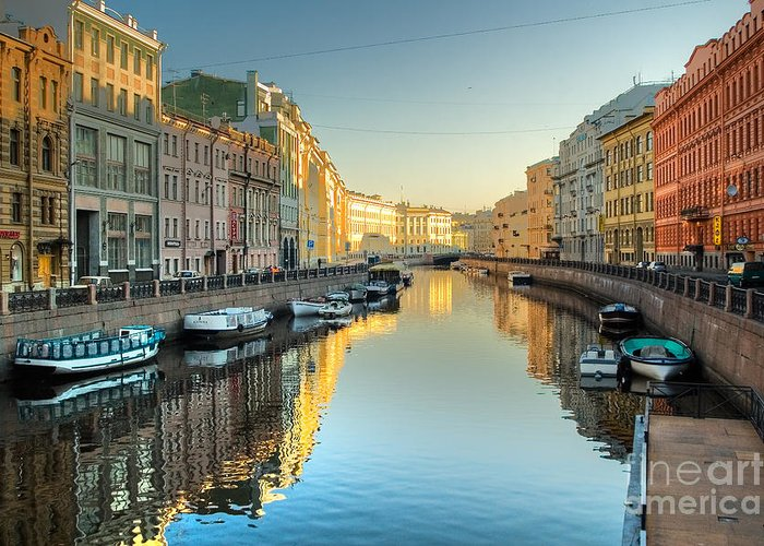 City Greeting Card featuring the photograph River Channel With Boats In by Sergei Butorin