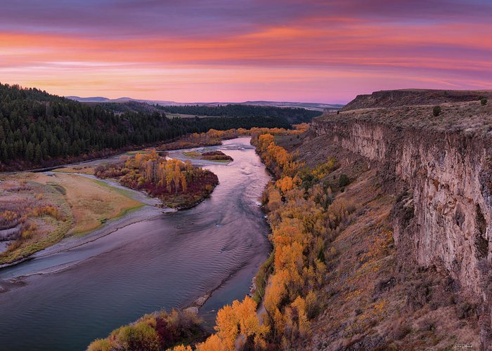 Idaho Scenics Greeting Card featuring the photograph River Sunrise by Leland D Howard