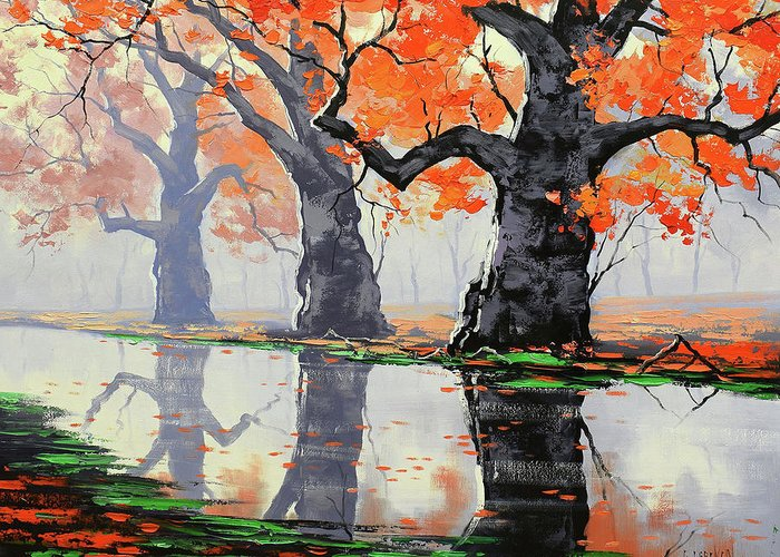 Fall Greeting Card featuring the painting Riverside Trees by Graham Gercken