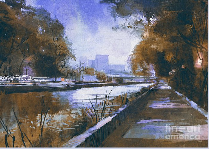 Country Greeting Card featuring the digital art Riverside Walkway In A Tranquil by Tithi Luadthong