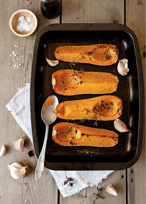 Spoon Greeting Card featuring the photograph Roasted Butternut Squash by Sarka Babicka