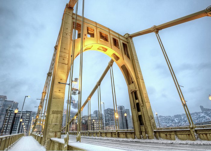Arch Greeting Card featuring the photograph Roberto Clemente Bridge by Hdrexposed - Dave Dicello Photography