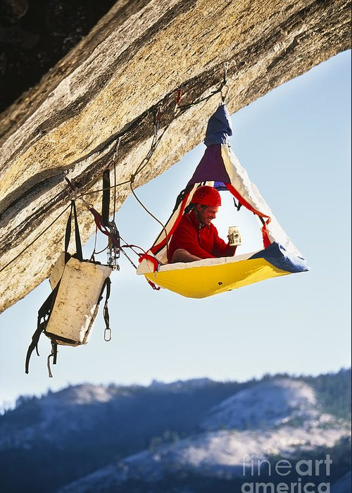 Strength Greeting Card featuring the photograph Rock Climber Bivouacked In His by Greg Epperson