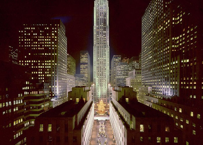 1980-1989 Greeting Card featuring the photograph Rockefeller Center, Manhatten, At by Thorney Lieberman